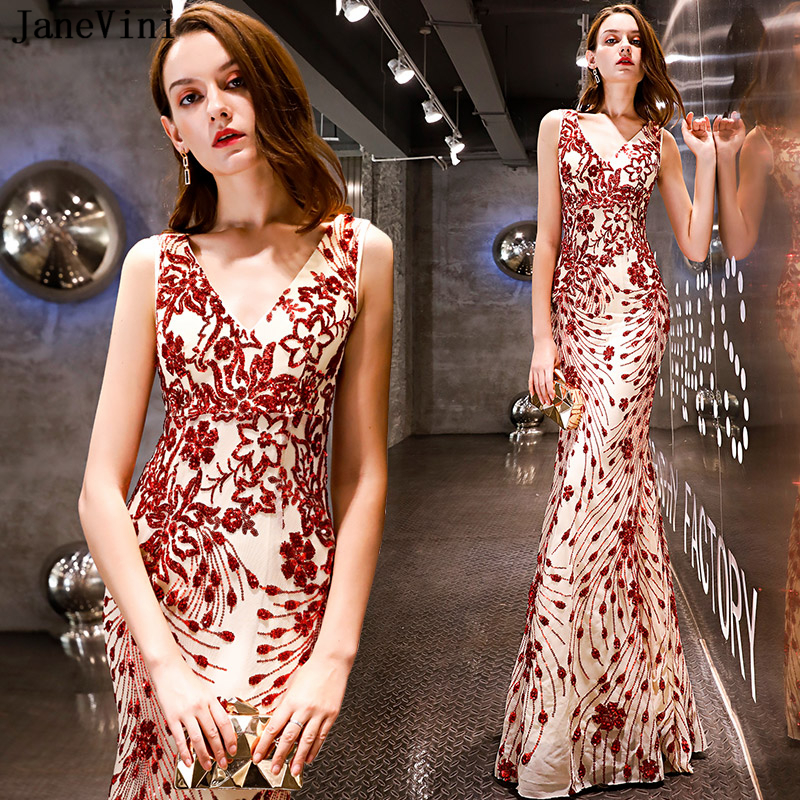 JaneVini 2019 Sparkly Red Sequined Mermaid Long   Bridesmaid     Dresses   V Neck Sleeveless Floor Length African Sexy Formal Prom Gowns