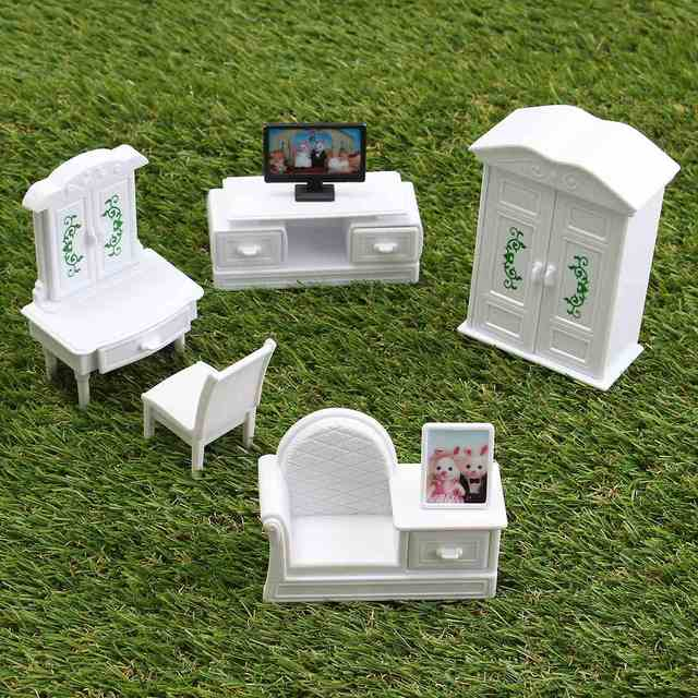 New DIY White Living Room Set Plastic Doll House Miniatures Furniture Sets Kits Toy Home Decor