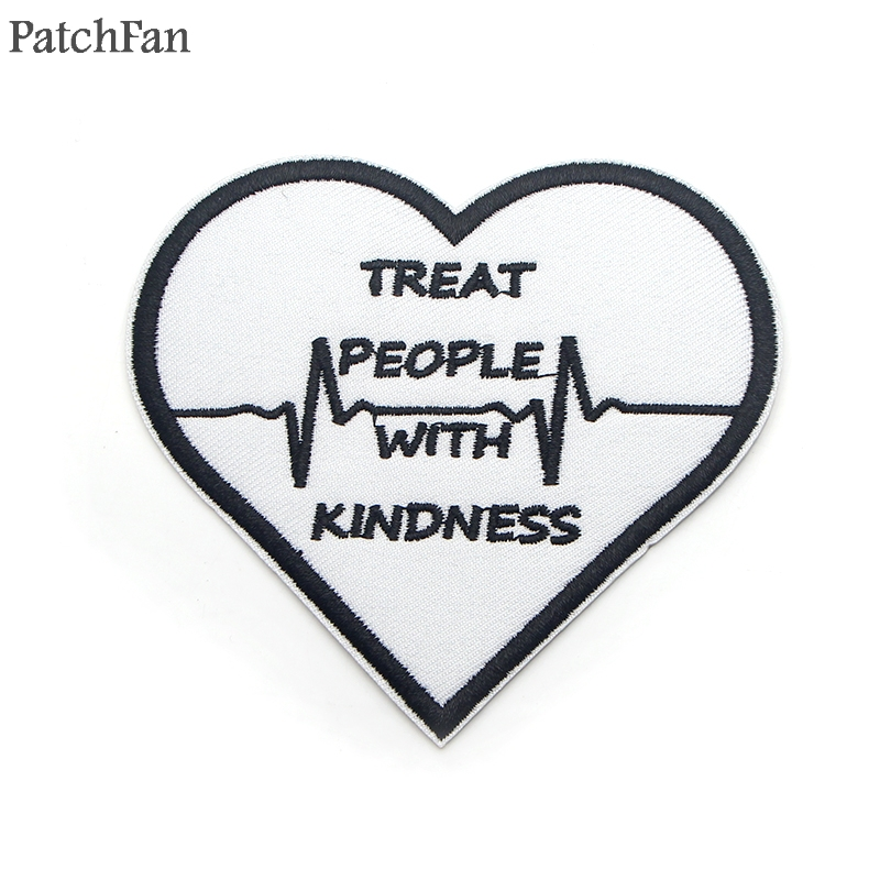 Patchfan Harry style treat people with kindness letter Applique diy accessorryiron on patches para clothing backpack kids A1854