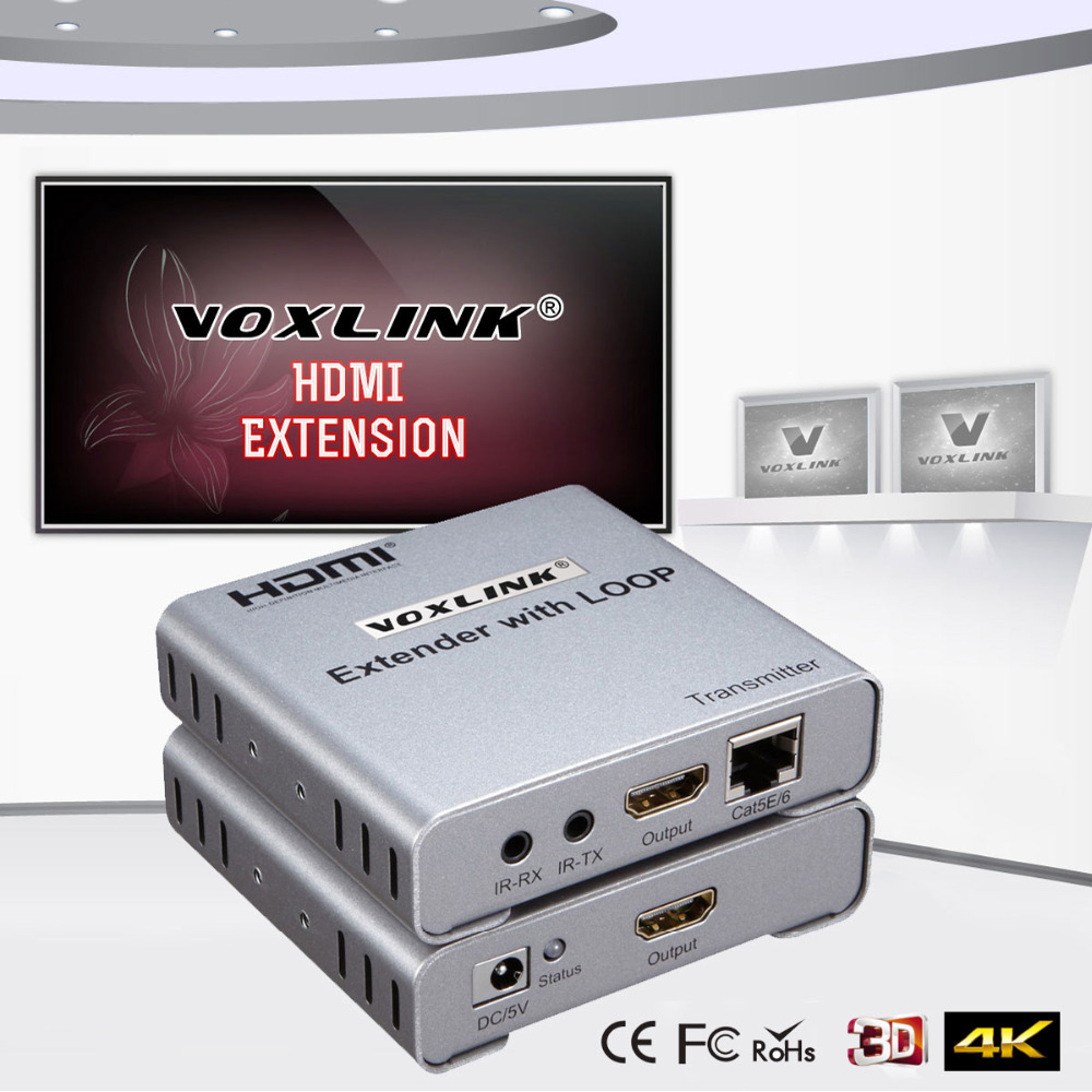 VOXLINK New 50m HDMI Network Extender Transmitter Receiver Over CAT5e/6 Single Cable 1080P with HDMI Loop-out 3D EDID management