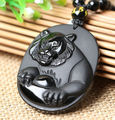 New Beautiful Handwork Natural Black Obsidian Carved Chinese Zodiac Tiger Lucky Amulet Pendants free Necklace fashion Jewelry