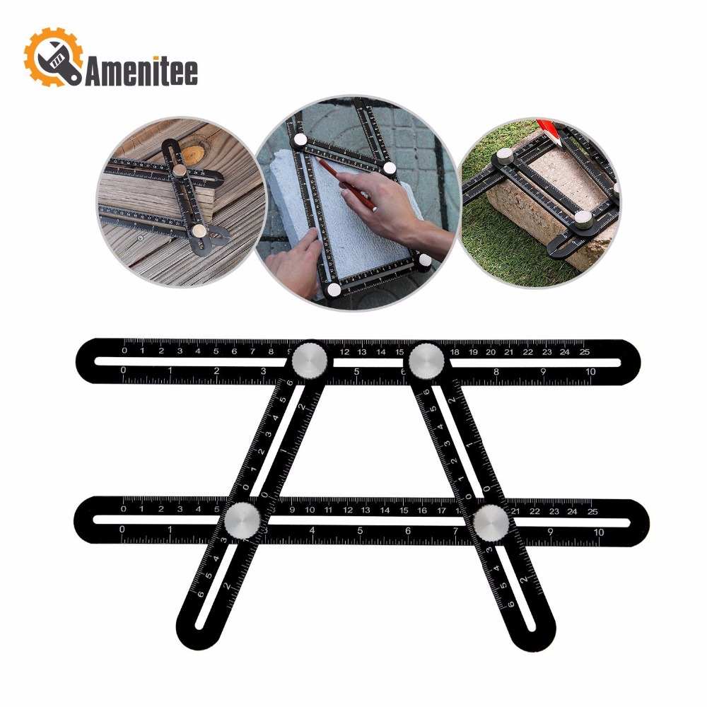 Amenitee Universal Angularizer rule gift Aluminum Alloy Angle izer Tool Four sided Measuring Tool Ultra Nook