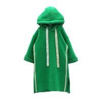 2017 winter meisjes casual fluwelen hooded lange sweatshirt meisjes leisure jurk top hoodie hiphop street wear voor tieners babykleertjes
