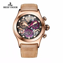 hot deal buy reef tiger/rt mens sport watches rose gold luminous quartz watches skeleton watches genuine leather band rga792