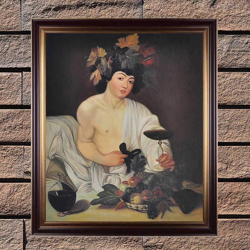Classic Oil Painting Reproduction Bacchus Caravaggio Painting Replica Museum Quality Handpainted Figure Painting Canvas Wall Art