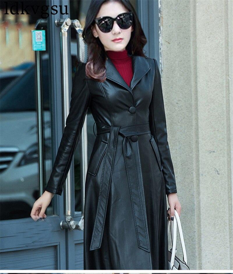 XS 8XL kobiet czarny Maxi Pu płaszcz skórzany wiosna jesień Plus rozmiar pojedyncze łuszcz PU skórzana długi wykop płaszcz wiatrówki v330 w Trencze od Odzież damska na  Grupa 2