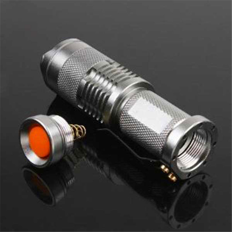 7W 300LM Mini LED Flashlight Torch Adjustable Focus Zoom Light Lamp Silver powerful led flashlight laser pointer #4S19 (8)