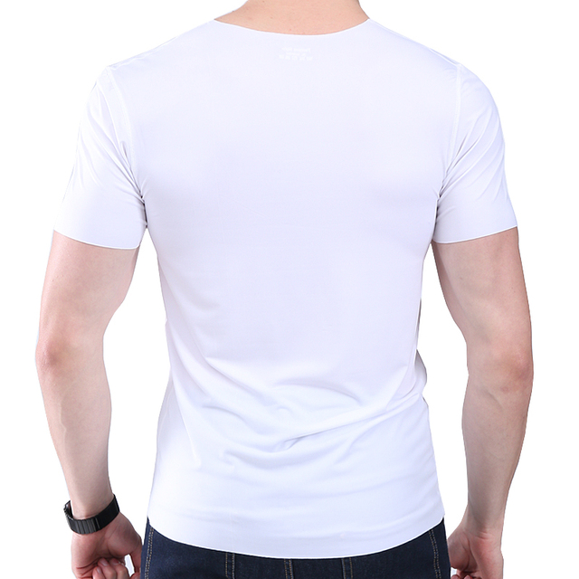 Men's t-shirt thin section short-sleeved summer ice silk without trace Slim stretch V-neck solid color bottoming t-shirt slim