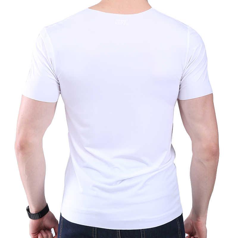男性の tシャツ薄型セクション半袖夏の氷の絹跡形もなくスリムストレッチ v ネック無地底入れ tシャツスリム