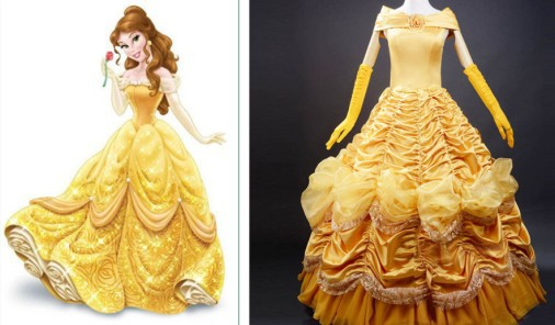 Beauty and the Beast Adult Costumes Luxurious Princess Belle Costume A-Line Cosplay Adult Princess Belle Costume Dress