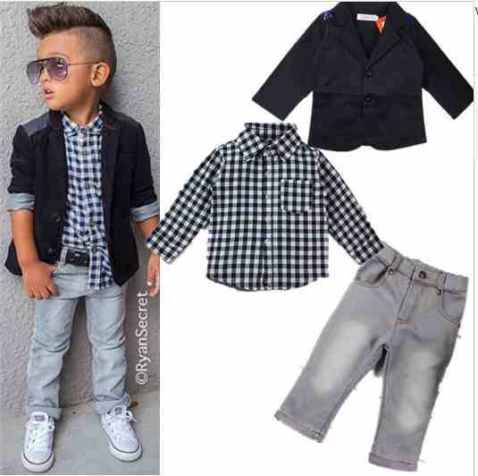 2015 Autumn new arrival boys clothing sets kids Boys long-sleeved jacket+shirts+denim pants 3 pieces child casual clothing set