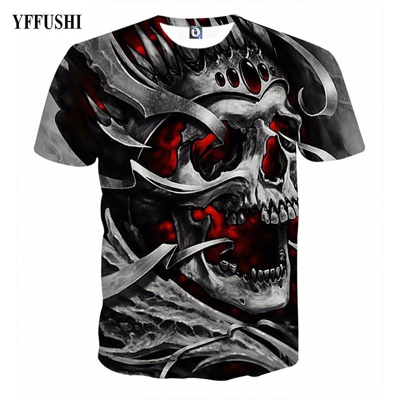 YFFUSHI 2018 New Male/Female 3d t shirt Unique Iron Skull Print 3d Hip Hop Tees Summer Cool Black T-shirt Men Plus Size 5XL