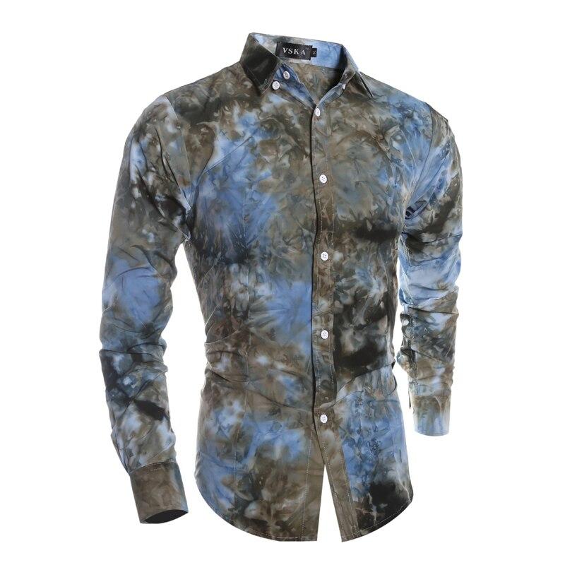 39fdafff80 Moda Primavera hombres impreso Camisas blusa manga larga Militar caqui  camisa masculino Delgado blusa Camisas marca desgaste de los hombres m XXL  en Camisas ...