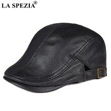 LA SPEZIA Flat Caps For Men Berets Black Genuine Sheepskin Leather Duckbill Hat Male Adjustable Thin Spring Autumn Directors Cap