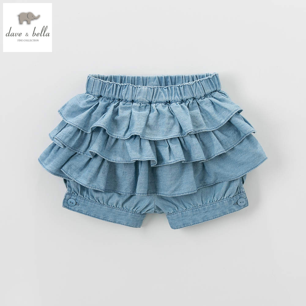 DB4852 dave bella summer baby girls shorts floral knickerbockers bow bloomers denim shorts bloomers destroyed raw hem denim shorts
