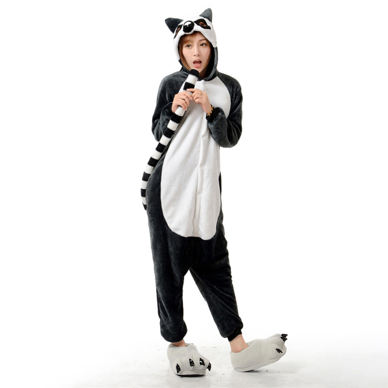 Adorable Lemur Soft Flannel Onesie Animal Adult Women Women Warm Kigurumi Pajama Overall Halloween Party Jumpsuit  Sleep Costume (2)