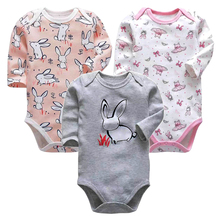 Купить с кэшбэком Infant Girls Clothes Newborn Toddler Babies 3-24 Months Long Sleeve Bodysuit Baby Boys Clothing 3 Pack