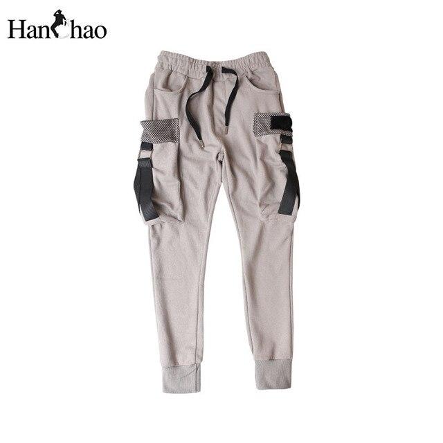 Hip Hop Шаровары Мужчин 2017 Новая Мода Уличная Сторона Большие Карманы Мужские Штаны Шнурок Брюки для Мужчин Черный Белый