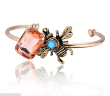 HIGH QUALITY FASHION LUXURY CRYSTAL INSECT OPEN BANGLE BRACELET STATEMENT JEWELRY FOR WOMEN