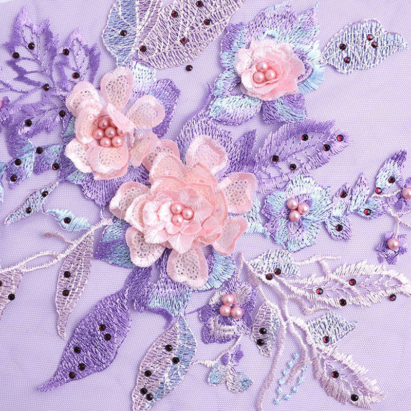 Embroidered Beads Lace Fabric Applique Flower Sewing Clothes Handicraft Accessories Collar Fabric For Sew Crafts in Lace from Home Garden