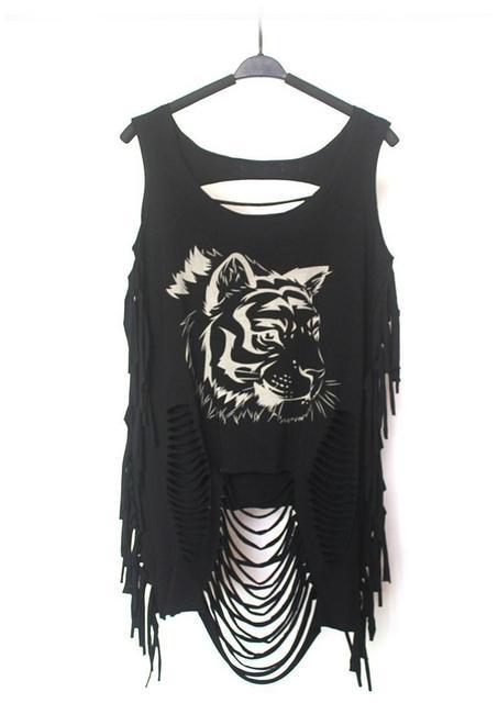 BooLawDee Verão estilo punk tassel regatas mulheres crânio/animal print streetwear para young lady tamanho livre 1F001