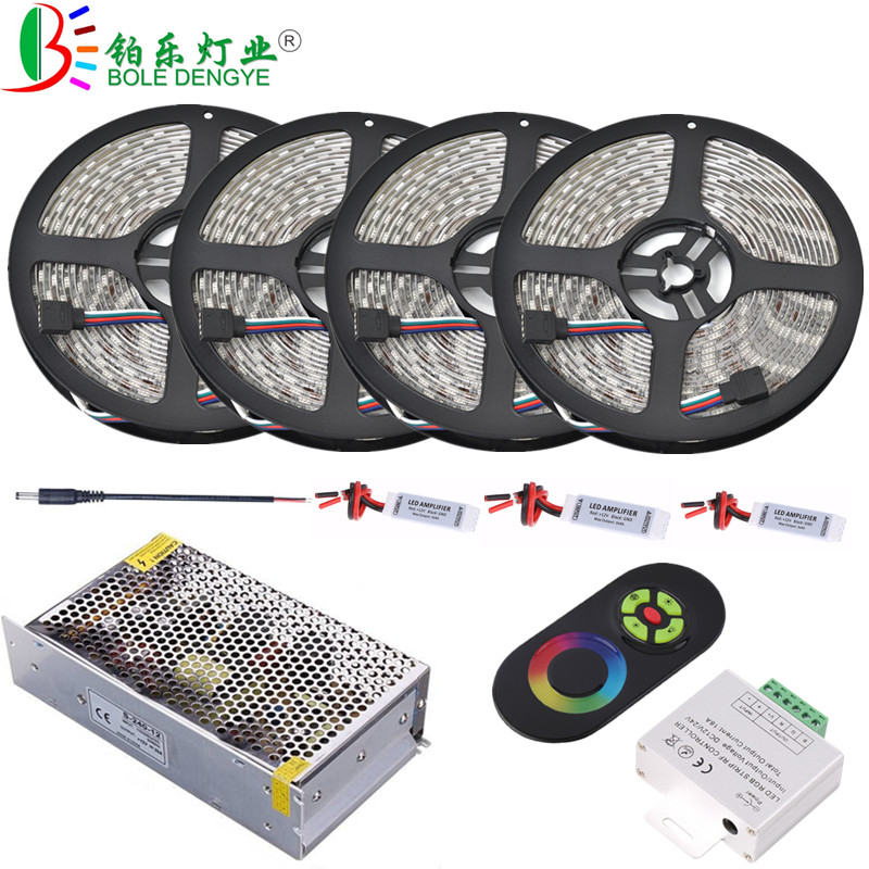 5 м 10 м 15 м 20 М 5050 RGB Светодиодные ленты 12 В 60 Светодиодный s/m Водонепроницаемый гибкие диод лента + усилитель + Беспроводной светодиодный контр...