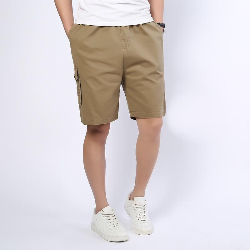 2018 Plus Size Shorts Summer Pocket Zipper Crotch Men Short Casual Loose Knee Length Male Cargo Beach Multi Color MENS SHORT