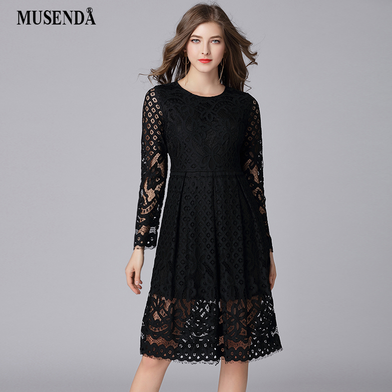US $26.61 |MUSENDA Plus Size Women Black Hollow Out Lace Tunic Dress New  2018 Spring Female Office Lady Party Dresses Vestido Robe Clothing-in  Dresses ...
