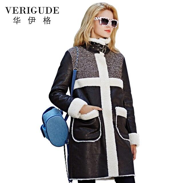 Veri Gude Faux Женщин Шуба Длинное Пальто на Зиму Искусственной Кожи Лоскутное Высокое Качество