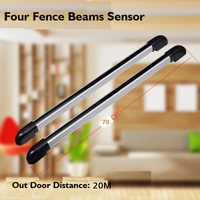 Four beams Detector 20 meters photoelectric infrared laser sensor grating for infrared alarm detector / IR barrier sensor