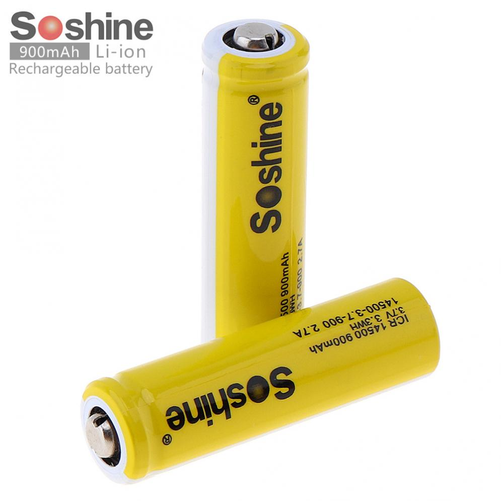 2pcs Soshine 3.7V ICR 14500 900mAh Li-ion Rechargeable Battery with Safety Relief Valve + Battery Box for Flashlights Headlamps image
