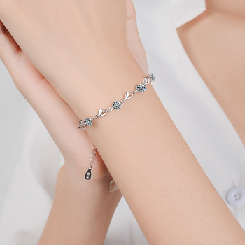 Everoyal Top Quality Silver 925 Girls Bracelets Jewelry Charm Crystal Heart Bracelet For Women Bride Wedding Accessories Fashion lukeni latest female heart bracelets jewelry top quality silver 925 sterling silver anklets for women party accessories lady