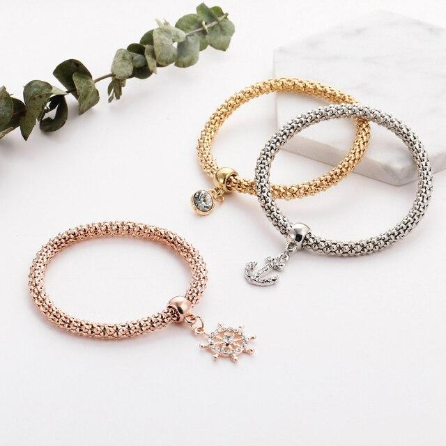 Rose Gold Crystal Owl Charm Bracelets 4