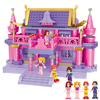 632 Pieces Girl Series Villa Kid Dream Series Construction Designers Doll Store Building Block Toys For