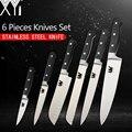 <font><b>XYj</b></font> полный Tang набор кухонных ножей из нержавеющей стали слайсер для шеф-повара сантоку нож для очистки хлеба Универсальный нож 7Cr17mov Професси...