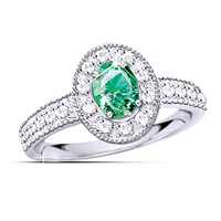 Luxury 2 Carat Simulated Emerald Halo Ring For Women 925 Sterling Silver 18K Gold Plated Engagement
