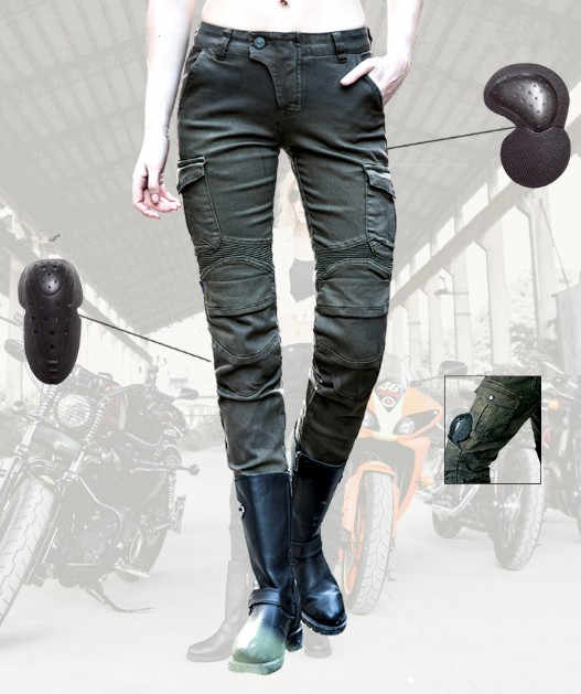 Leisure uglyBROS Featherbed jeans Ms. motorcycle pants retro motorcycle riding pants scooter moto motorbike jeans