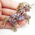 Gold-Tone Vintage Unicorn Horse Pendant Brooch Pin Purple Rhinestone Crystal