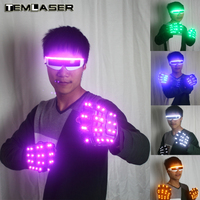 LED Gloves Luminous Flower Finger Light Gloves Party Supplies Dancing Club Props Stage Costumes LED Gloves Glasses