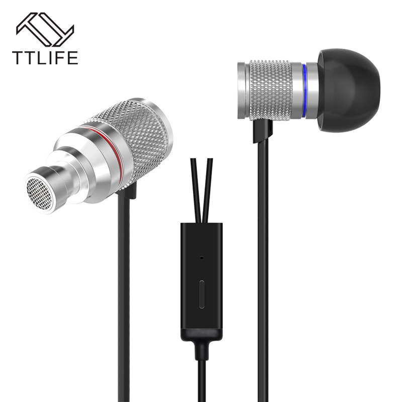 TTLIFE  Metal Stereo Bass 3.5mm Headphone Earphone Hifi Ear Phone Earbud With Mic fone de ouvido For Phone Mobile Phone Sliver