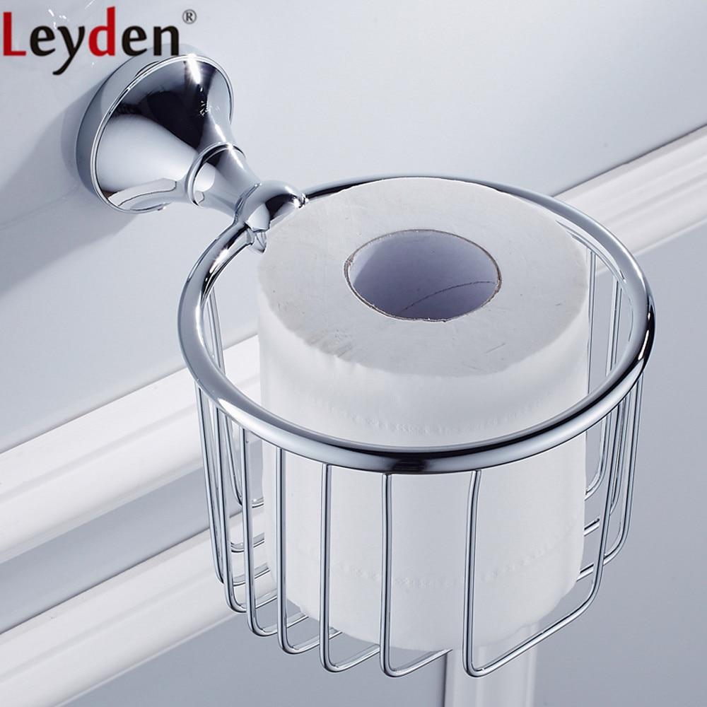 Leyden Chrome Brass Toilet Paper Basket Wall Mounted Lavatory Toilet Paper Holder Bathroom Shampoo Holder Bathroom Accessories
