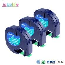 Labelife 3 pcs Dymo 91334 (91224,91204, 59425) platisc tape Preto no Verde 12mm * 4 m compatível Dymo Letratag Fita para o fabricante da etiqueta
