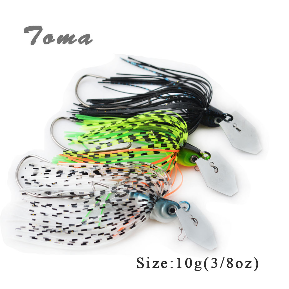 TOMA 3PCS/lot Lead Head Spinner Buzzi Bait Fishing Lures 3/8oz Colors Silicone skirt Spinnerbait Metal Lure With Crank hook 8 inch soft skirt bait sea fishing lures game trolling fishing lures resin head with double octopus skirt