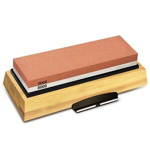 Image 1 - Bileme taşı 3000 ve 8000 Grit çift taraflı Whetstone seti bıçaklar kaymaz bambu taban ve ücretsiz açı kılavuzu