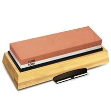Schärfen Stein 3000 & 8000 Grit Doppelseitige Schleifstein Set Für Messer Mit Nicht Slip Bambus Basis und freies Winkel Guide