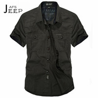 AFS JEEP 4xl To S Men S Summer Solid Cotton Shirt Military Original Brand Loose Plus