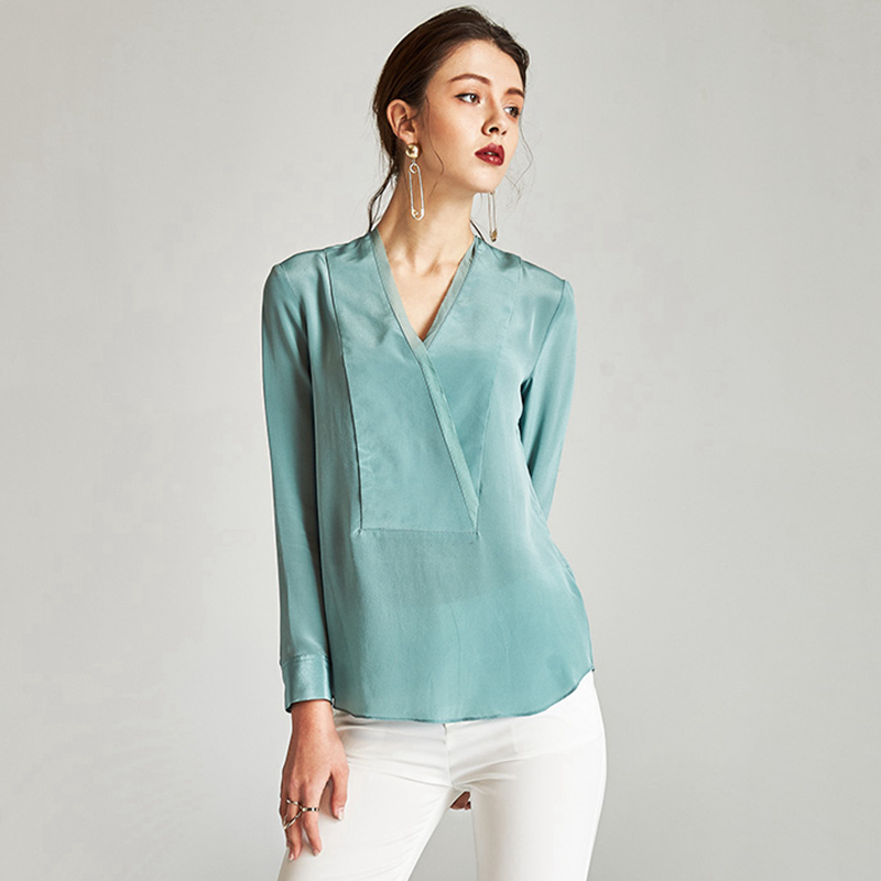 100% Silk Blouse Women Shirt Graceful Style Mint Color V Neck Long Sleeve Simple Design Office Top New Fashion 2018
