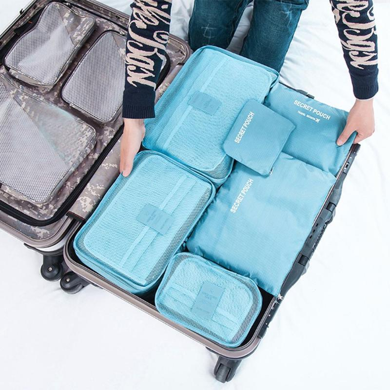 6Pcs/set High Capacity Waterproof Travel Storage Bag Luggage Portable Clothes Tidy Organizer Pouch Suitcase Divider Container