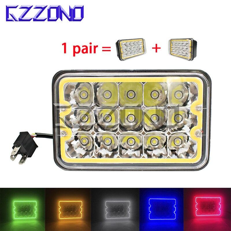 Gzzono 45 W Rechthoek Multi-color Halo Drl Led 4*6 5 Inch Hi/laag Hoofd Verlichting Led Sealed Beam Vrachtwagens Drivin Werk Licht Led Lamp Knappe Verschijning