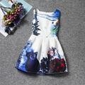 Ocidente Impressão Das Meninas Crianças Vestido de Festa Flor de Impressão Sem Mangas vestido de Princesa Crianças Vestido de Aniversário # E